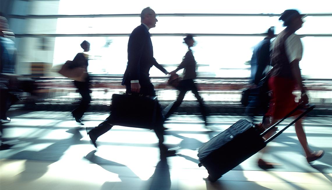 People Walking Through Airport, Fingerprint Boarding Passes, Travel