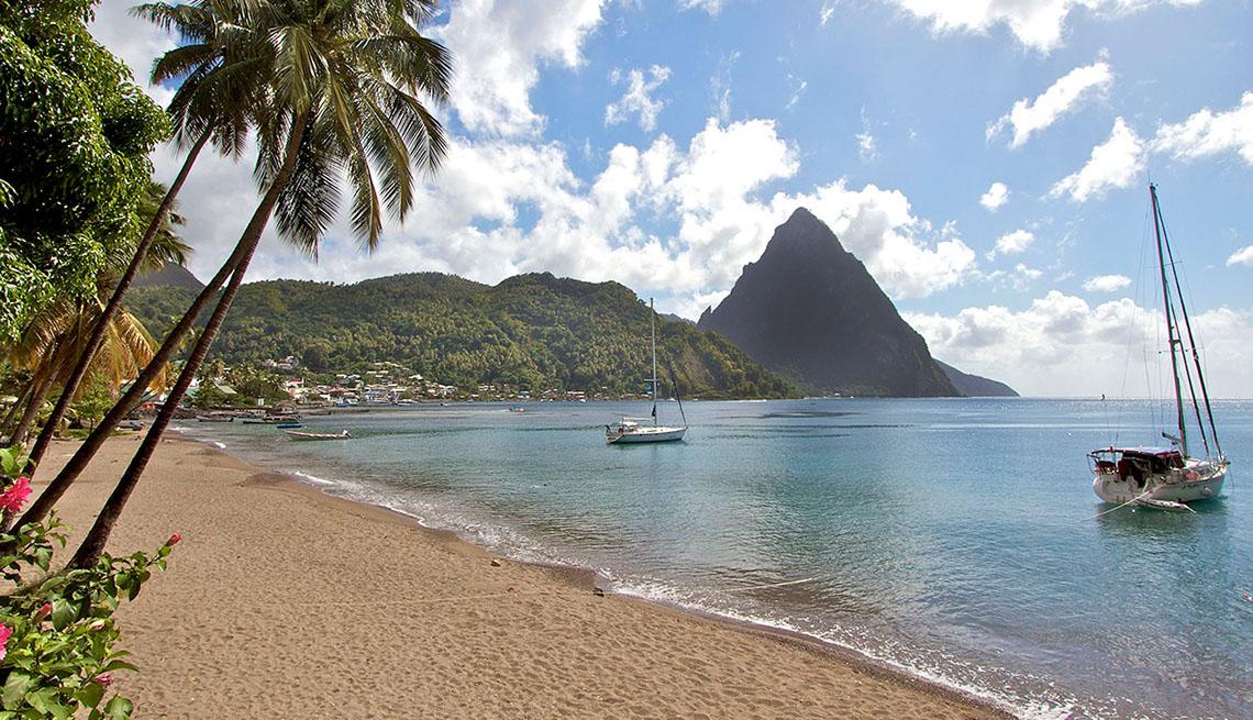 Boats Sitting Near Shore In St Lucia, Best Honeymoon Destinations