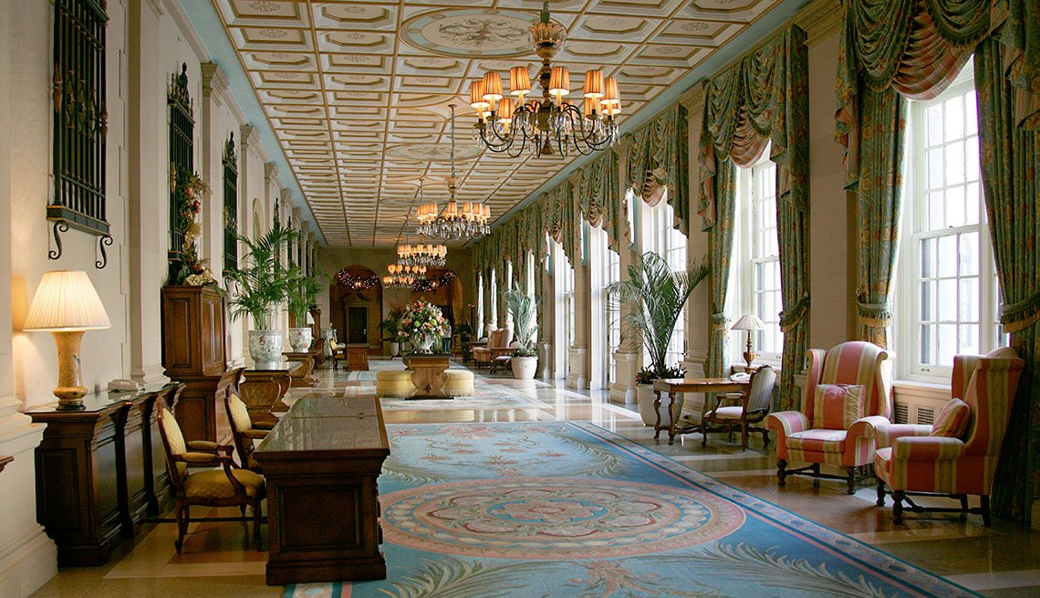 The Long Hallway And Lobby Of The Breakers Hotel Palm Beach In Florida, Impressive Hotel Lobbies