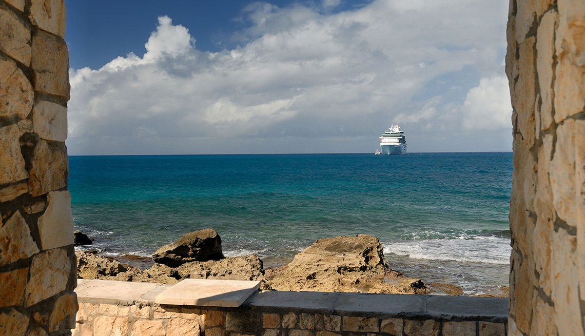 View Of A Cruise Ship Liner From The Shore Of Little Stirrup Cay Also Known As Coco Cay In The Bahamas, Private Islands For Cruise Ship Passengers