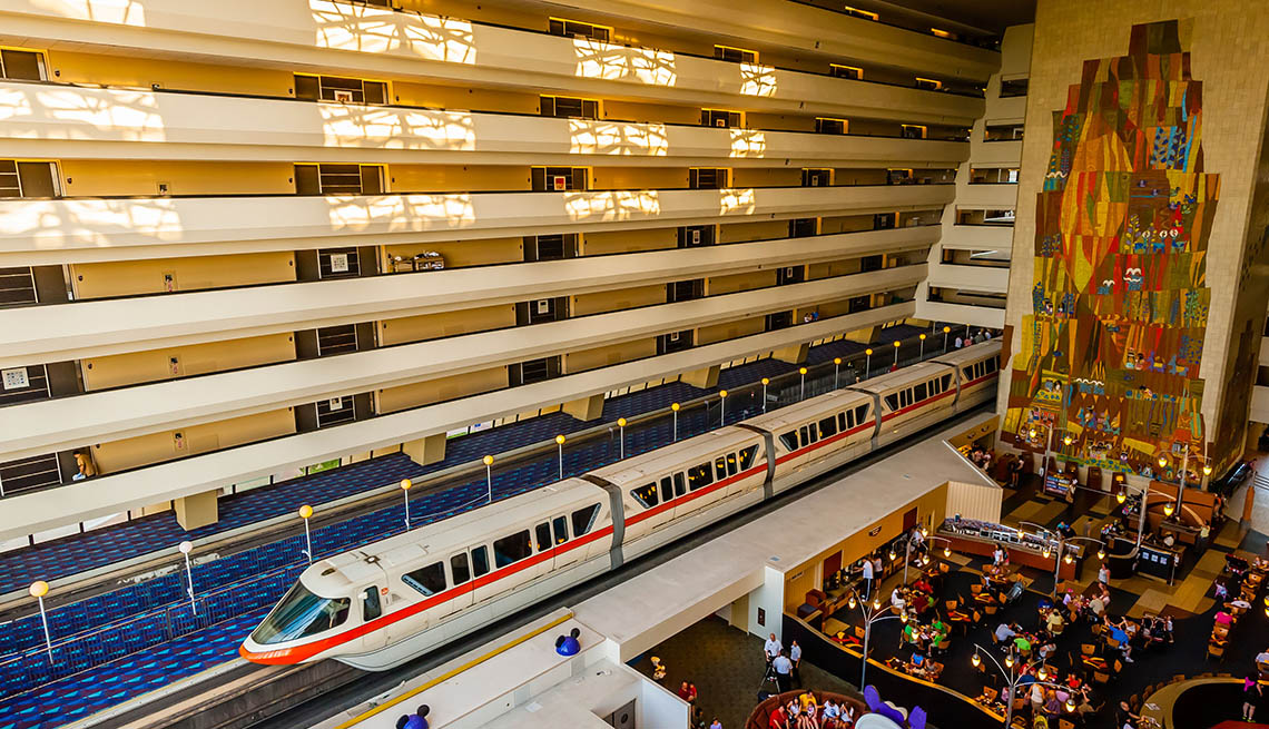 The Impressive Lobby Of The Contemporary Resort In Disney's Magic Kingdom In Florida With The Monorail That Cuts Through The Lobby, Impressive Hotel Lobbies