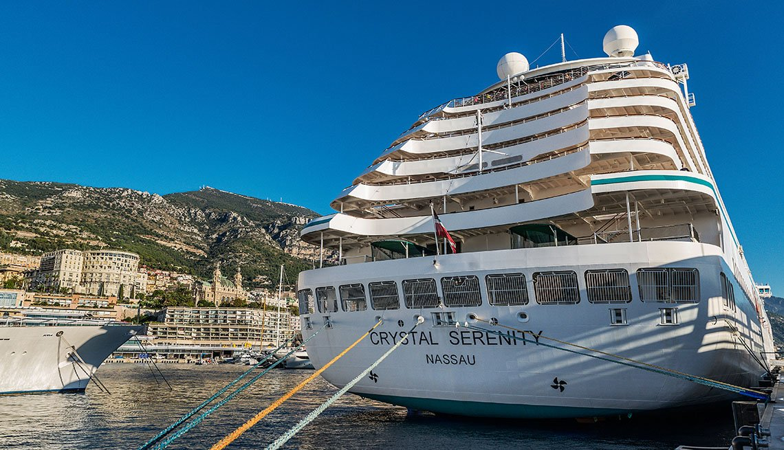 A Crystal Creative Cruise Ship Docked In Monte Carlo Monaco, Great Mediterranean Cruises