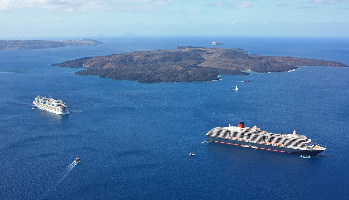 Aerial View Of The Cunard's Queen Victoria Cruise Ship At Santorini Greece, Great Mediterranean Cruises