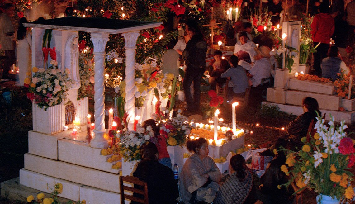 Locals Enjoy Dia De Los Muertos In Oaxaca Mexico Also Known As The Day Of The Dead, Unique Fall Vacation Destinations