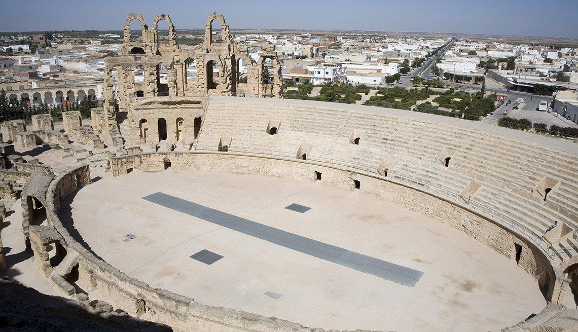 Aerial View Of El Ejem A UNESCO World Heritage Site In Tunisia North Africa, Under The Radar Destinations