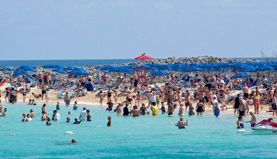 Huge Crowds Of Beachgoers At The Island Of Great Stirrup Cay Bahamas, Private Islands For Cruise Ship Passengers