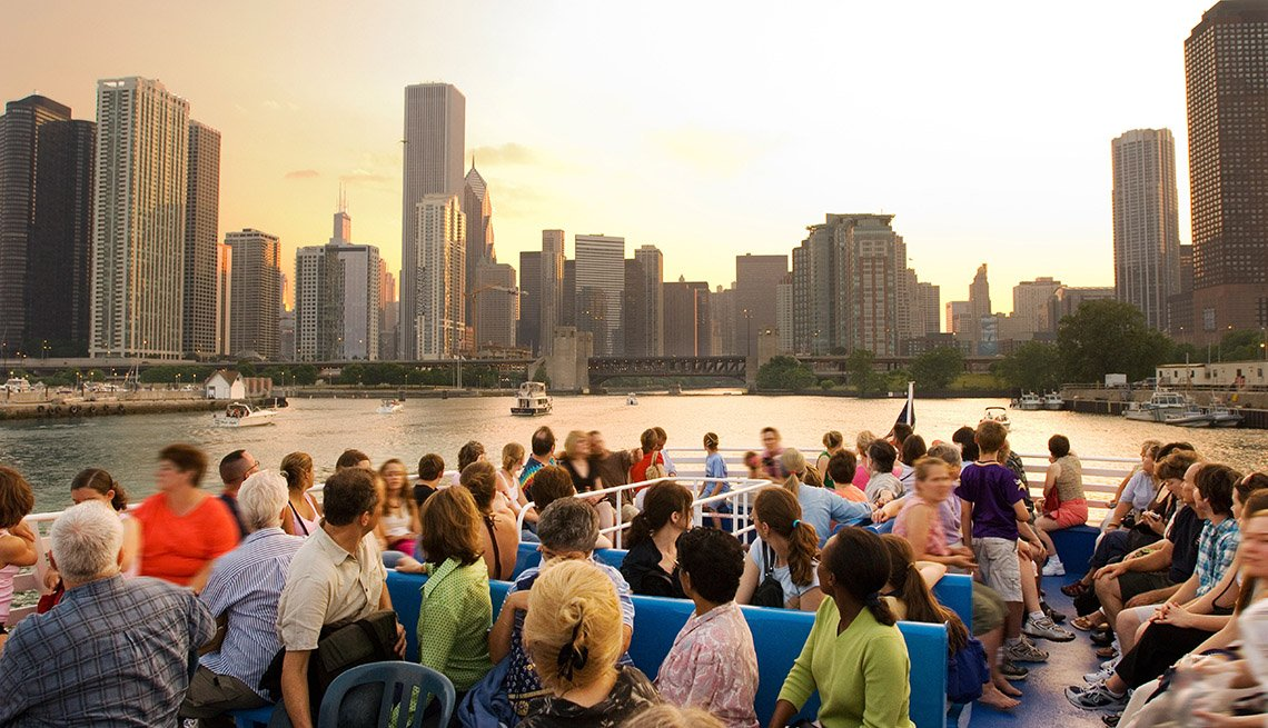 Large Tourists Group On Boat Enjoying A Tour Boat In Chicago Illinois, Save On Solo Travel