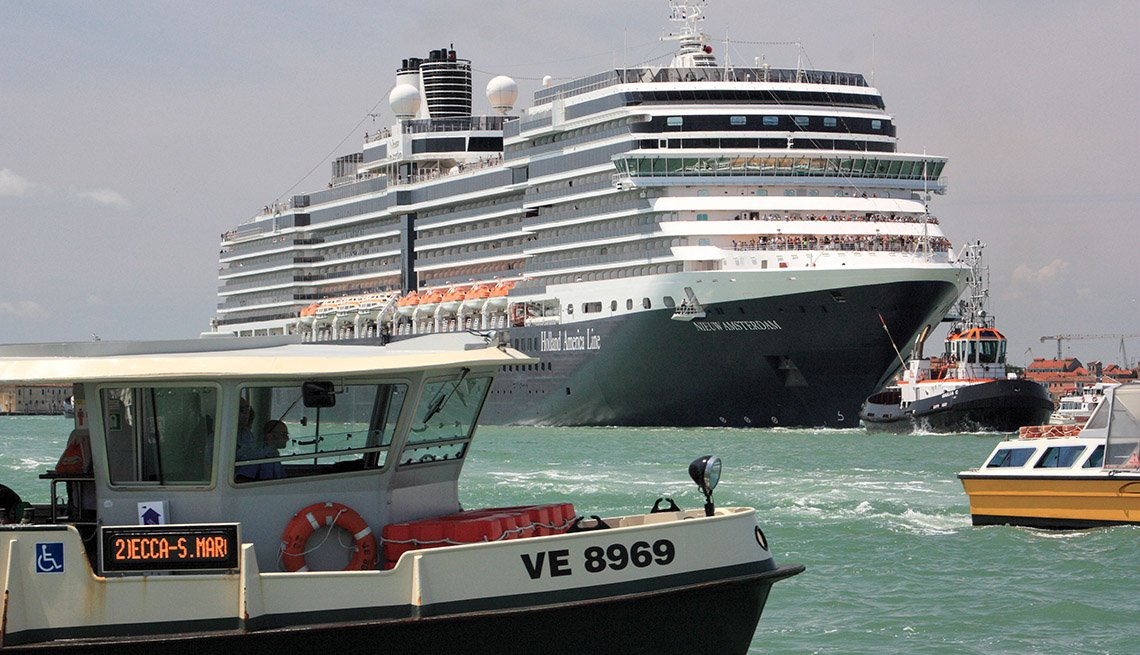 The Holland America Cruise Ships Arrives In Venice Italy, Great Mediterranean Cruises