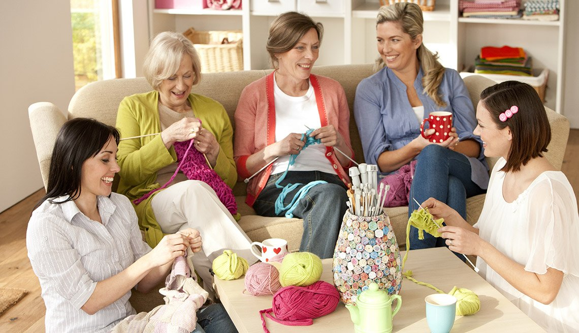 A Group Of Hobbyist Women All Knitting Together, Save On Solo Travel