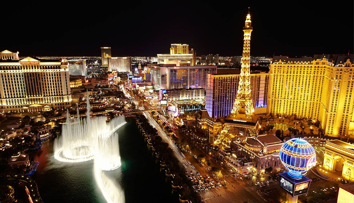 Aerial View Of Las Vegas And Casinos And Hotels At Night, Nevada, Save On Solo Travel