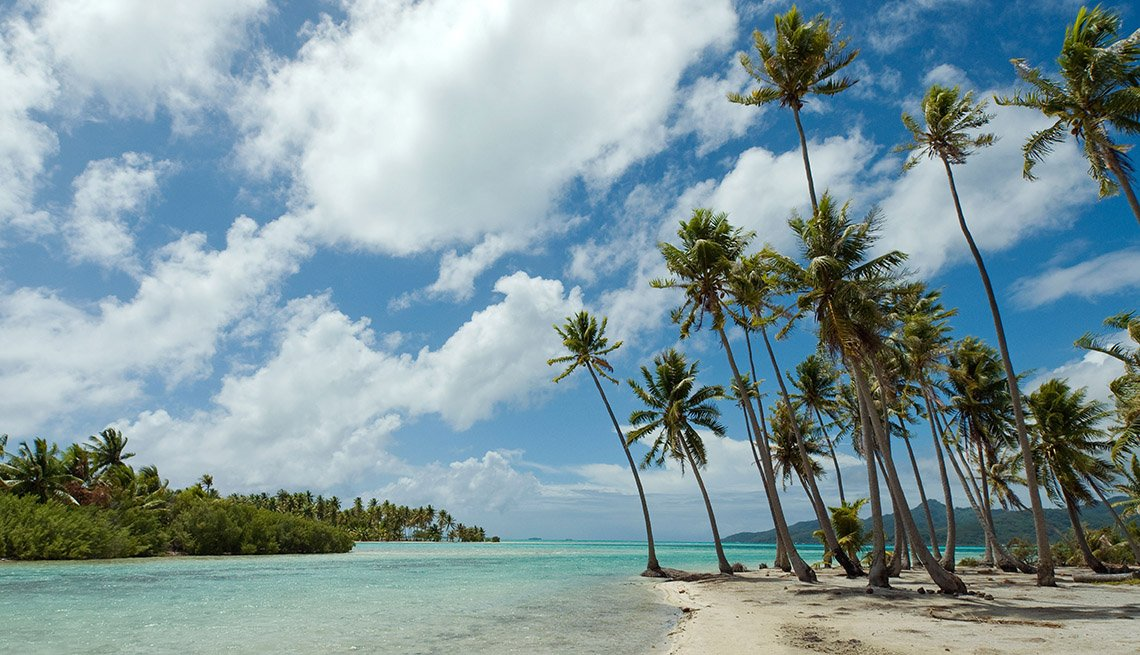 View Of Ocean And Beach With Palm Trees Of Motu Mahana In The Island Of Taha'a In French Polynesian Islands, Private Islands For Cruise Ship Passengers
