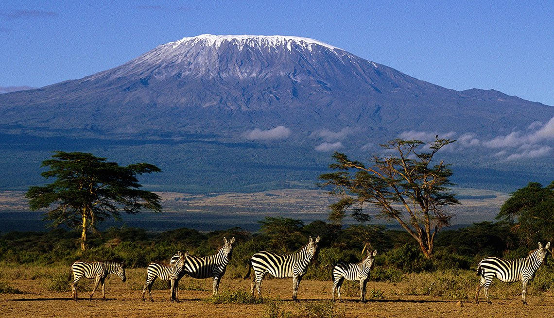 Zebras In Foreground With Mount Kilimanjaro In Background, Natural Wonders To Visit
