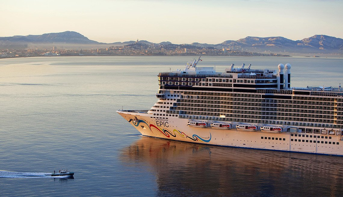 The Norwegian Epic Cruise Liner Outside Bouches Du Rhone In Marseille France, Great Mediterranean Cruises
