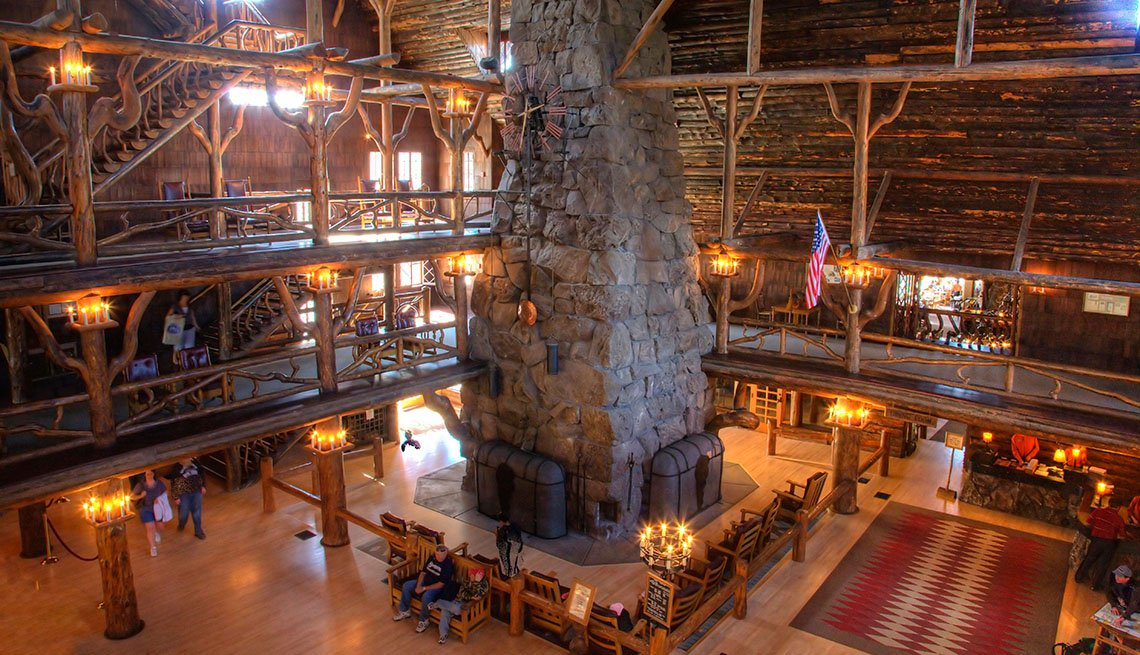 Interior Of The Lobby Of The Old Faithful Inn In Yellowstone National Park, Impressive Hotel Lobbies