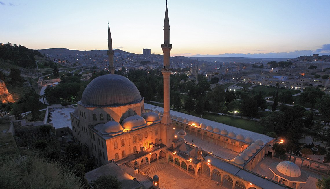 Aerial View At Night Of Teh Mevlid-i Halil Mosque In Sanliurfa Turkey, Under The Radar Destinations