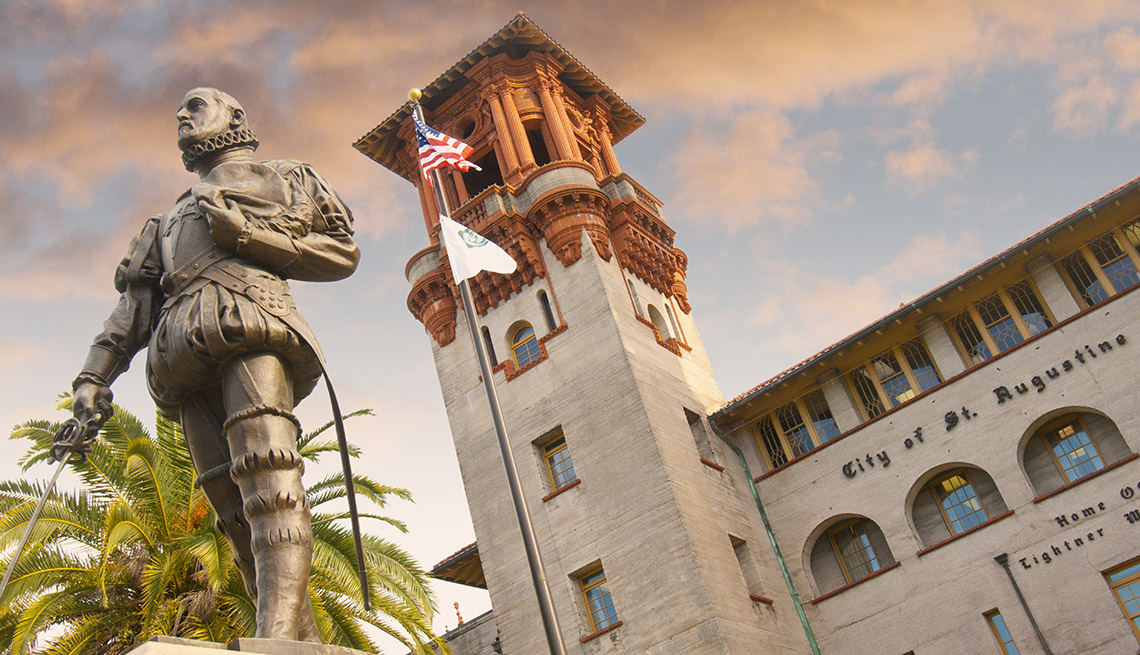 Statue And Building In Downtown St Augustine Florida, Winter Getaways