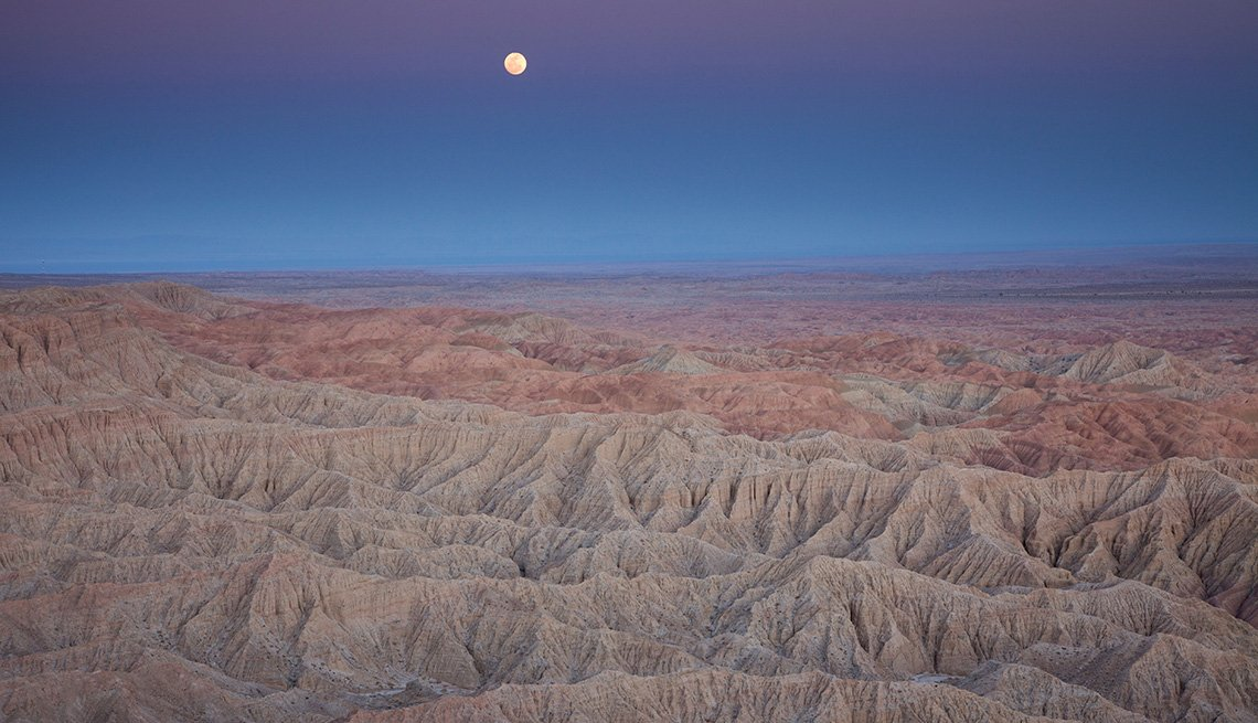 The Moon High Above The Anza-Borrego Desert State Park In California, Unique Fall Vacation Destinations
