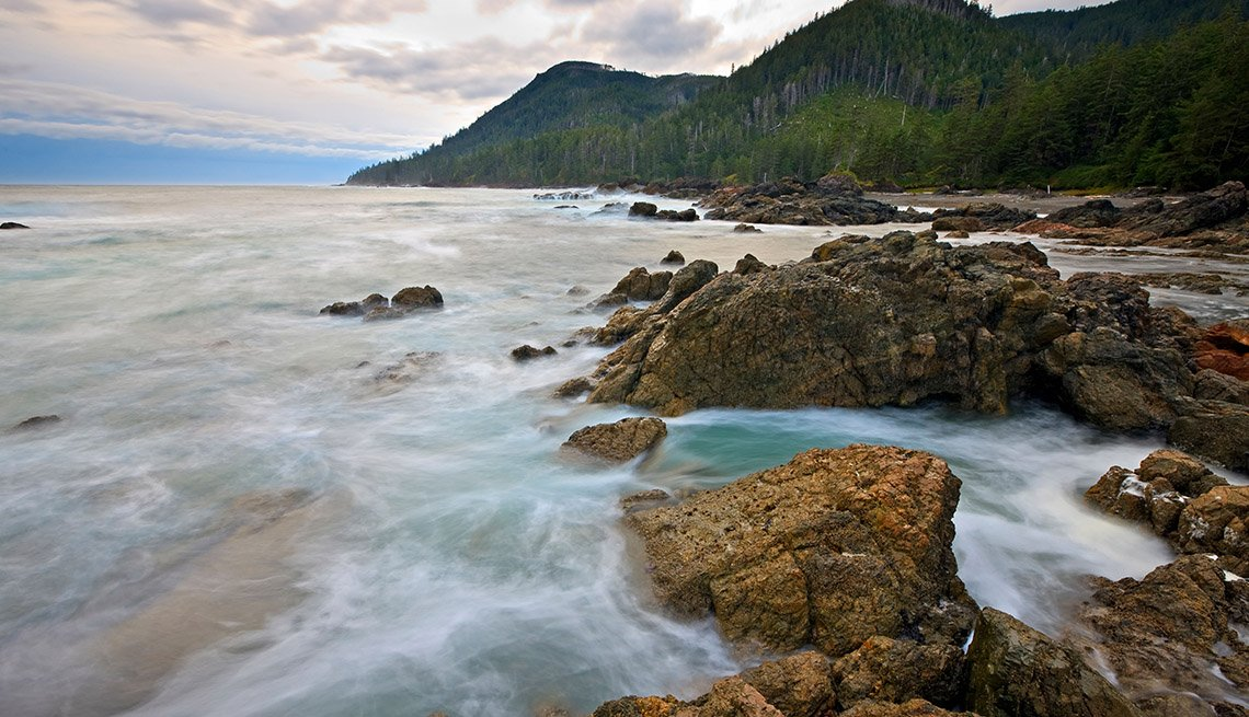 View Of The Rugged Coastline And Ocean Of Cape Palmerston On Vancouver Island In British Columbia Canada, Unique Fall Vacation Destinations