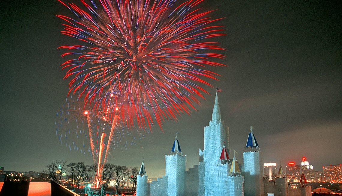 Fireworks over Ice Palace St. Paul, Minnesota Winter Carnival, Great Winter Festivals, Travel