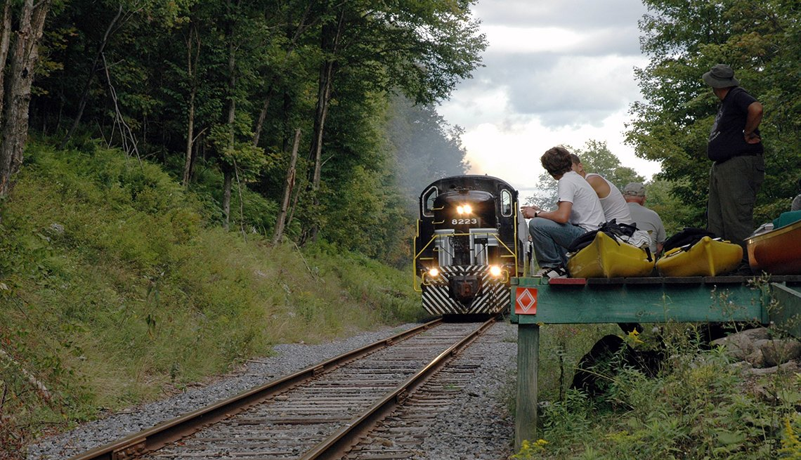 Adirondack Train On The Tracks With Boys Watching From Sides, Fall Foliage Trains