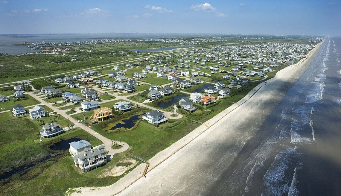 Aerial View Of The Beach Near Galveston Texas, Great Motorcycle Rides