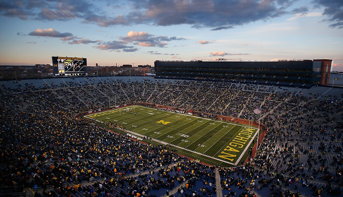 Aerial View Of Michigan Stadium In Ann Arbor Michigan, College Towns To Visit