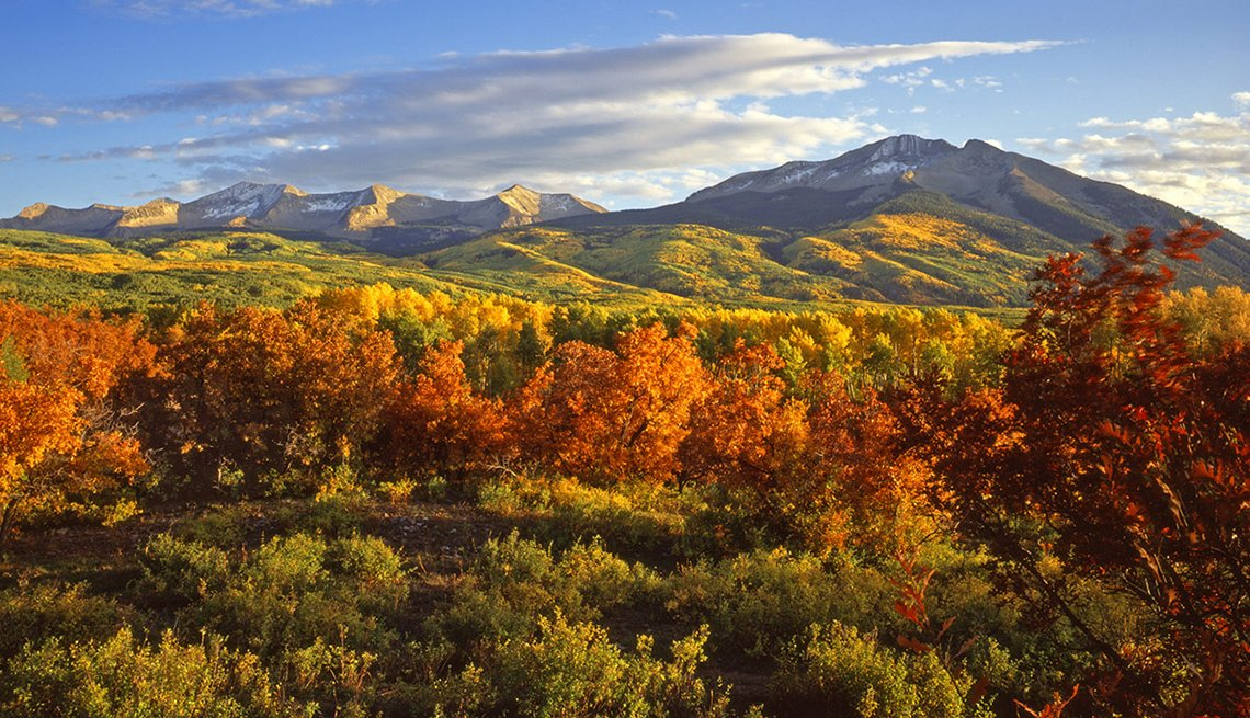 Aerial View Of The Autumn Foliage And Mountains In Aspen Colorado, Best Fall Foliage Spots In America