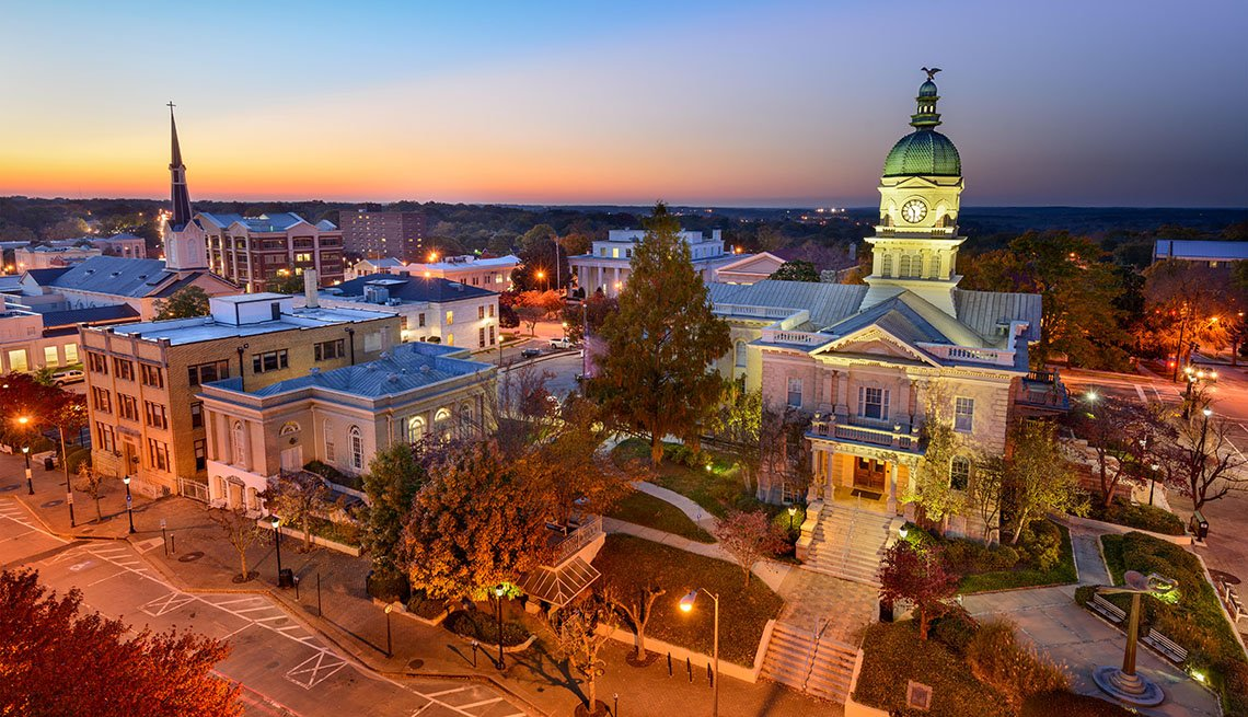 Aerial View Of Downtown Athens Georgia At Dusk, College Towns To Visit