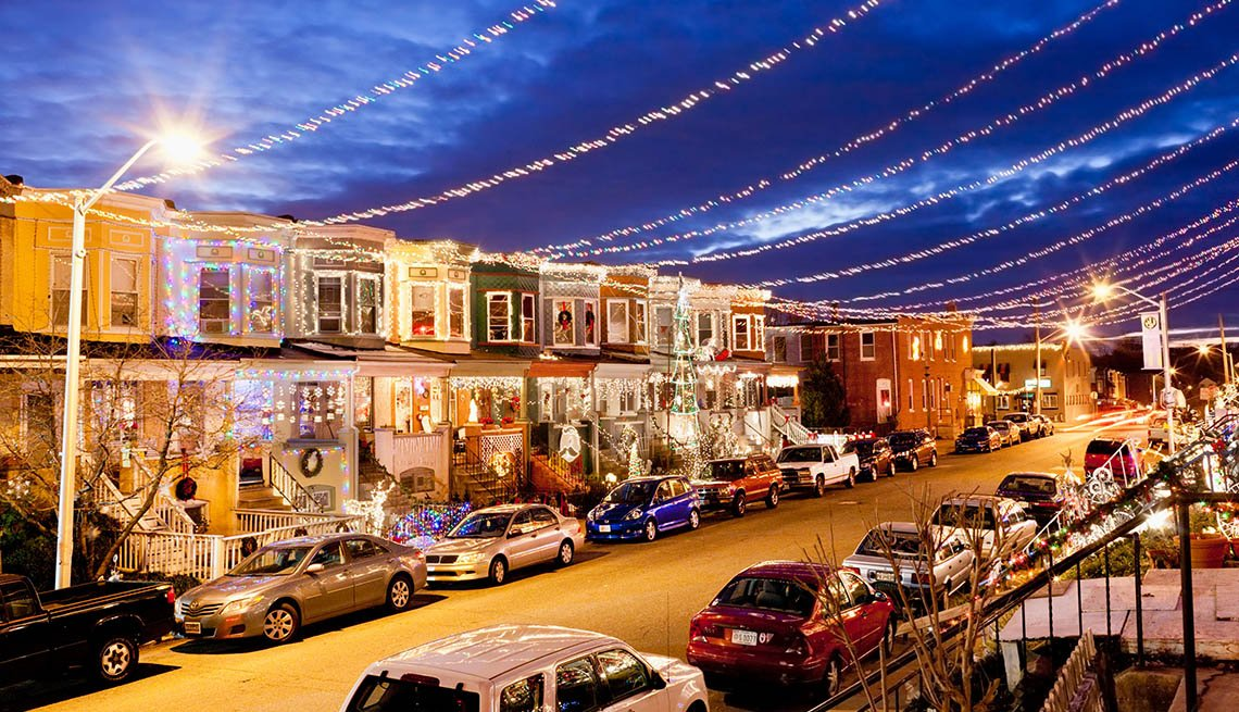 34th Street In Baltimore Maryland Is All Lit Up And Decorated For The Holiday Season, Thanksgiving Day Destinations
