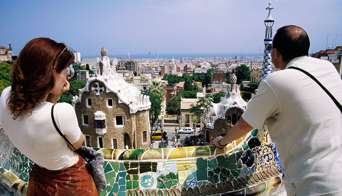 Couple Look At The View In Barcelona Spain, Second Honeymoon Destinations
