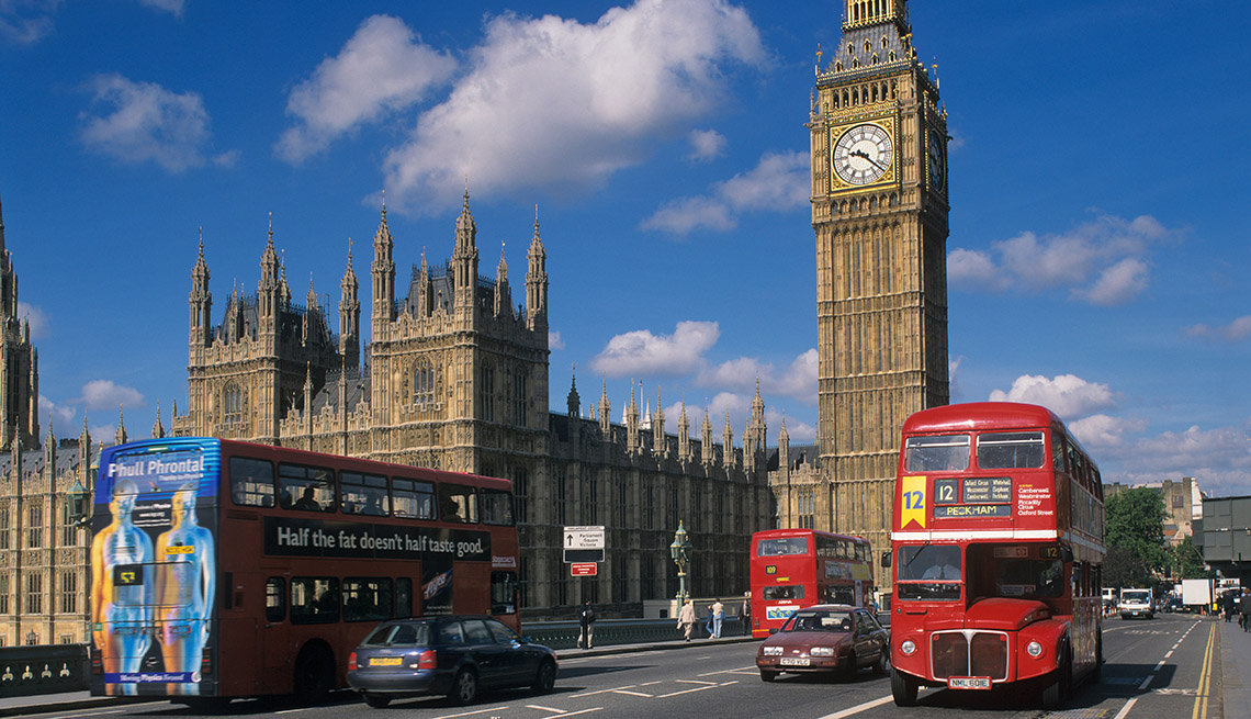 Tour Buses Cross Bridge In Front Of Big Ben And The Houses Of Parliament In London United Kingdom, Bus Tour Pros