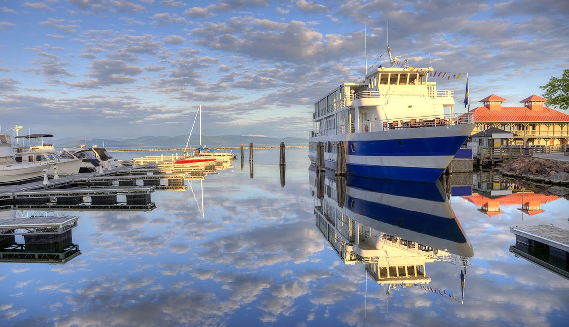 Boat Docked At Harbor In Burlington Vermont, College Towns To Visit