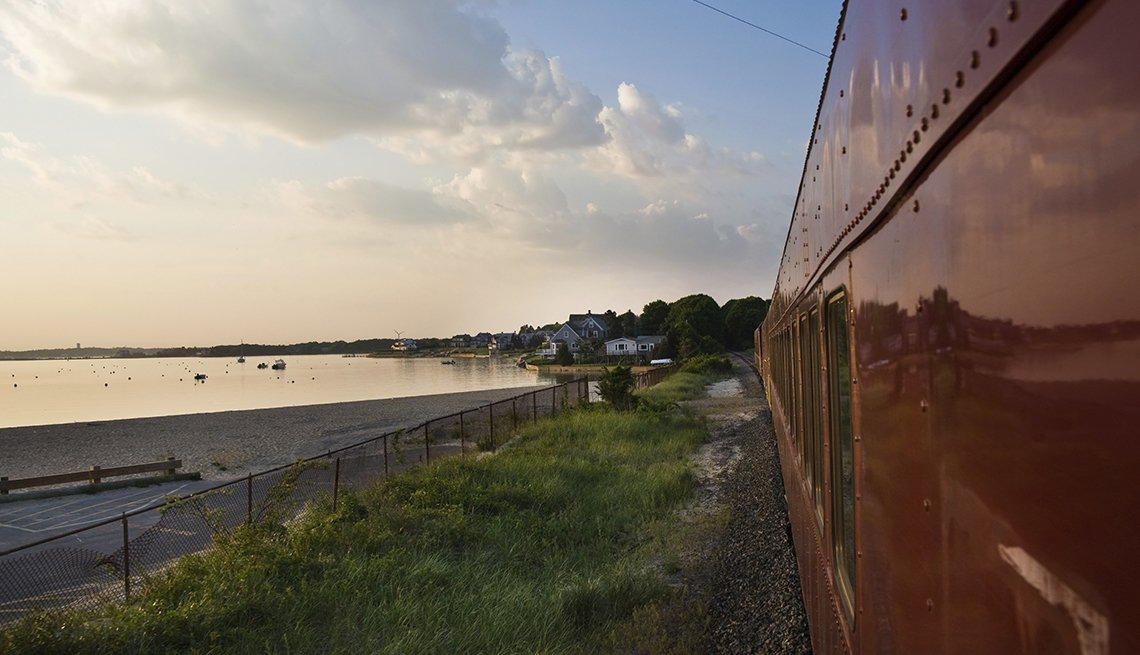 Cape Cod Train Passes By Lake, Fall Foliage Trains