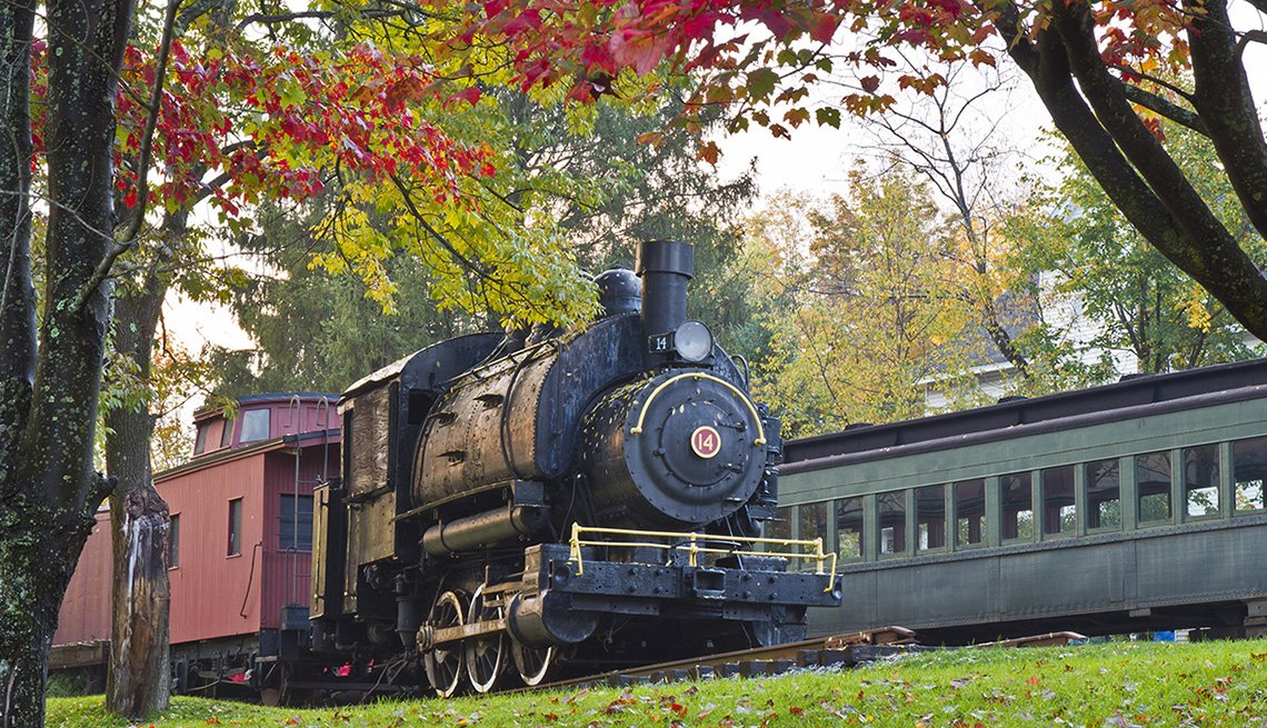 The Train Pulls Through The Catskills In New York, Best Fall Foliage Spots In America