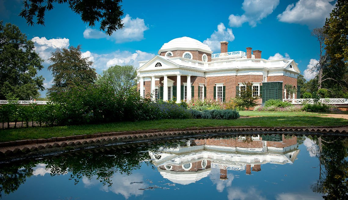 View OF Thomas Jefferson's Home, Monticello In Charlottesville Virginia, College Towns To Visit