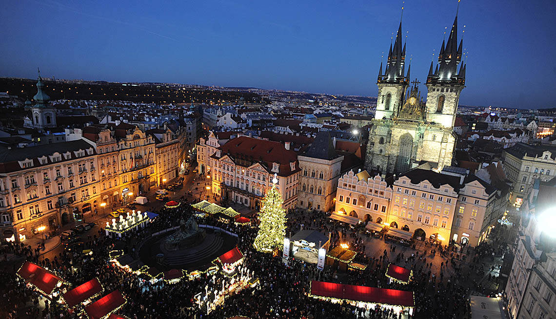 A Typical European Christmas Market In Old Town Square In Prague Czech Republic, Spend Christmas In Europe