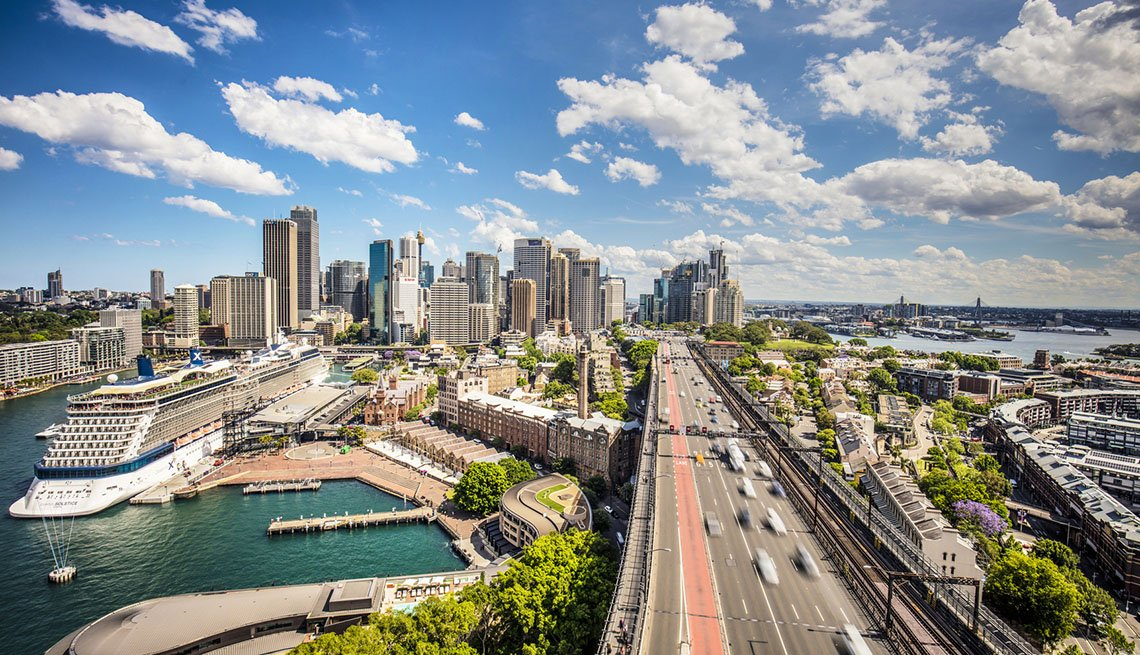 Aerial View Of City And Highway Into Sydney Australia, AARP Traveler's Tips