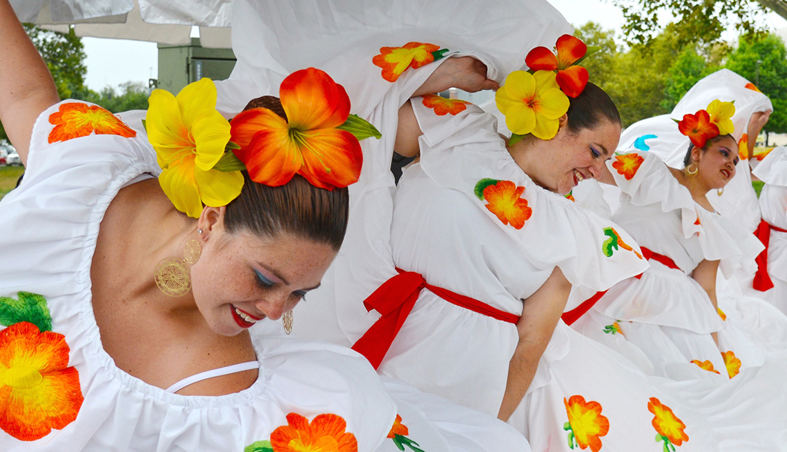 Female Dancers In Colorful White Dresses At The Jazz And Rib Festival In Columbus Ohio, Best Latin Festivals In America