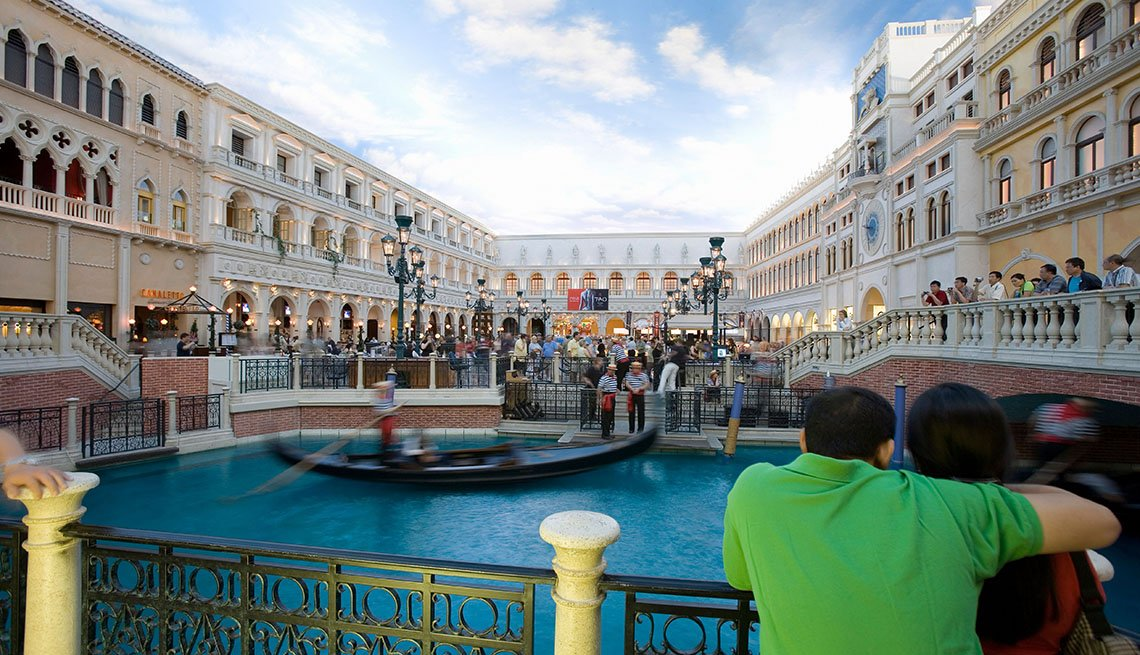 Couple Enjoy The Gondoloier On The Grand Canal In The Venetian Hotel In Las Vegas Nevada, Gambling Trips Tips