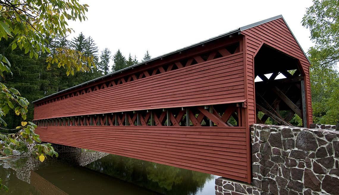 Red Covered Bridge In Gettysburg Pennsylvania, Great Motorcycle Rides