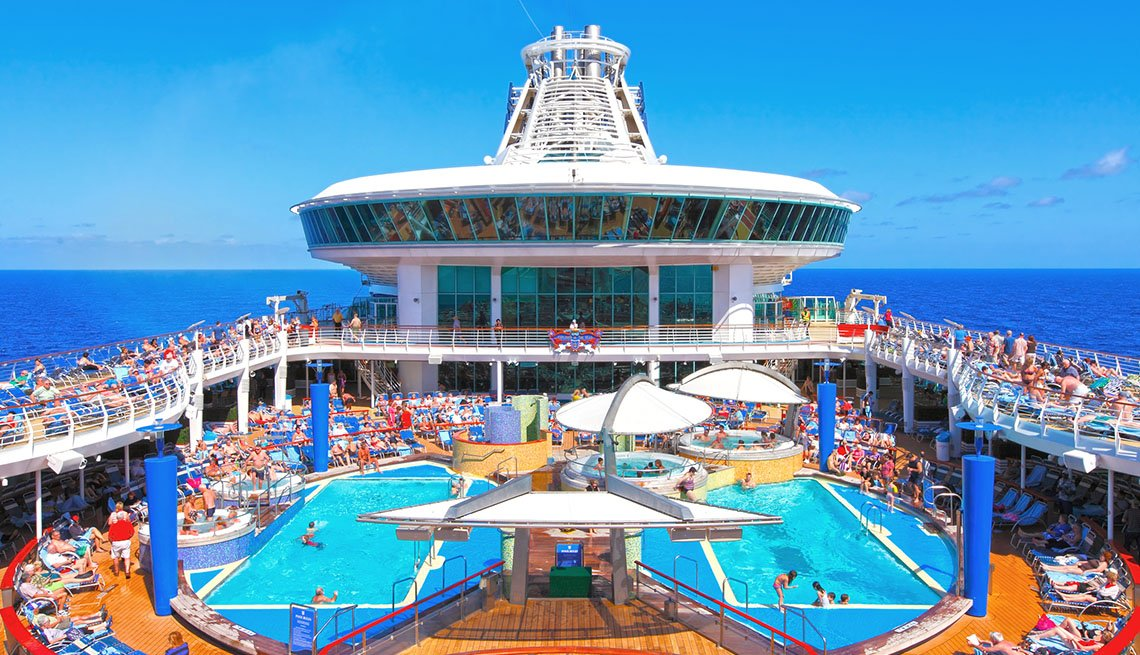 The Crowded Deck And Pool Of A Cruise Ship, Cruise Ship Guide And Tips