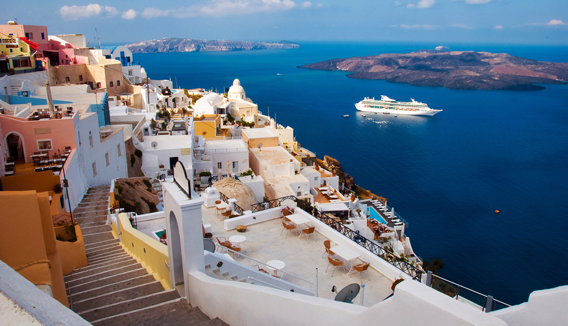 View Of Buildings, Homes And Ocean Near Santorini Greece, Cruise Ship Guide And Tips