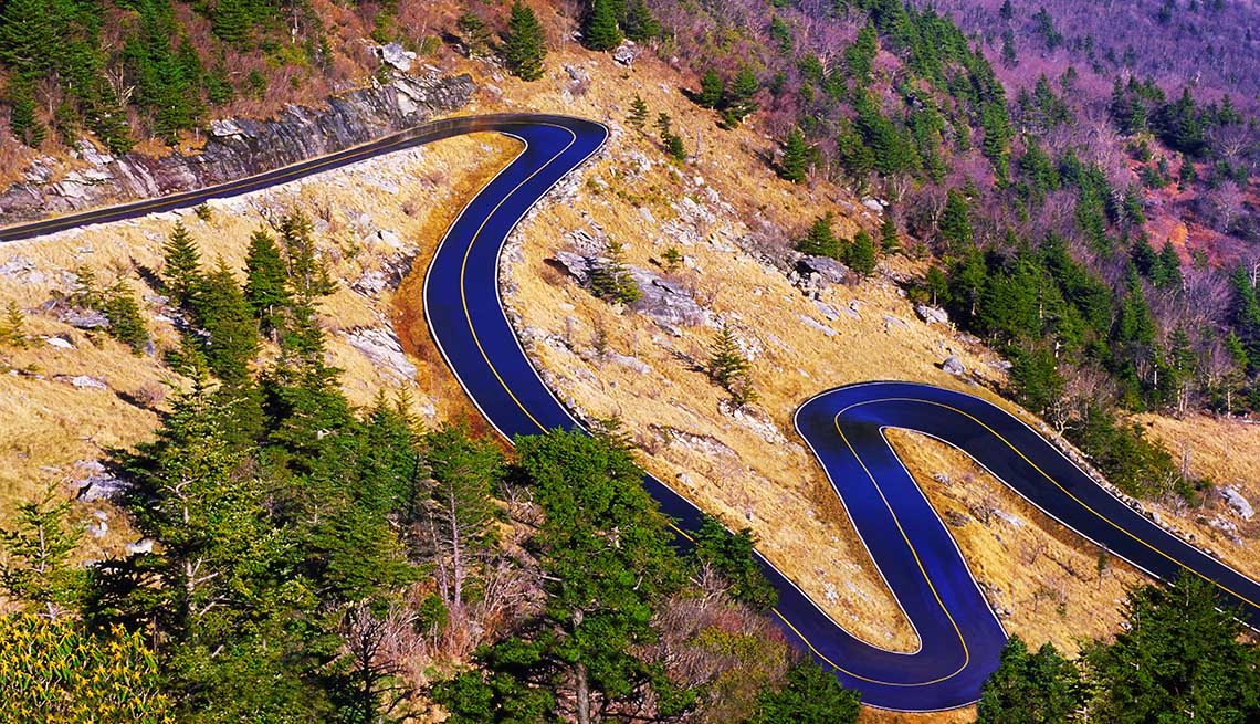 Aerial View Of The Curvy Road Winding Through Grandfather Mountain In North Carolina, Great Motorcycle Rides