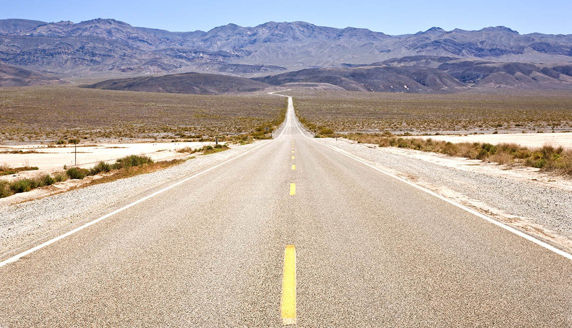 View Of The Road In Death Valley In California, Great Motorcycle Rides