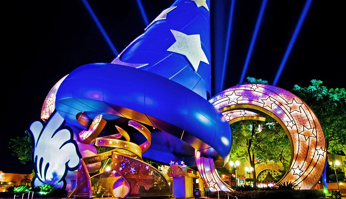 A Giant Statue Of Mickey Mouse's Sorcerer's Hat In Disneyworld, New Year's Eve Destinations