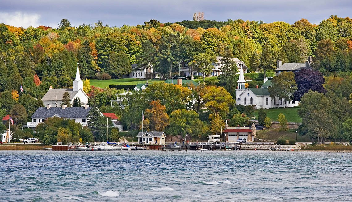 item 6 of Gallery image - Lake With Houses In Background In Door County Wisconsin, Great Fall Vacations
