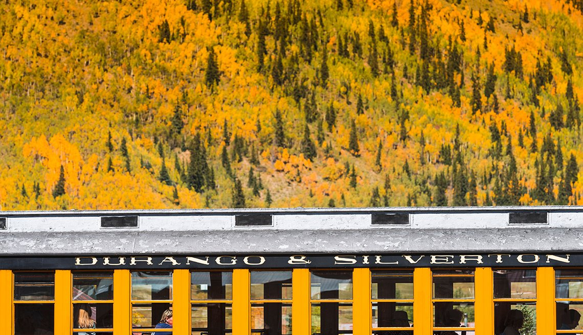 Train Passes Through Silverton Colorado, Fall Foliage Trains