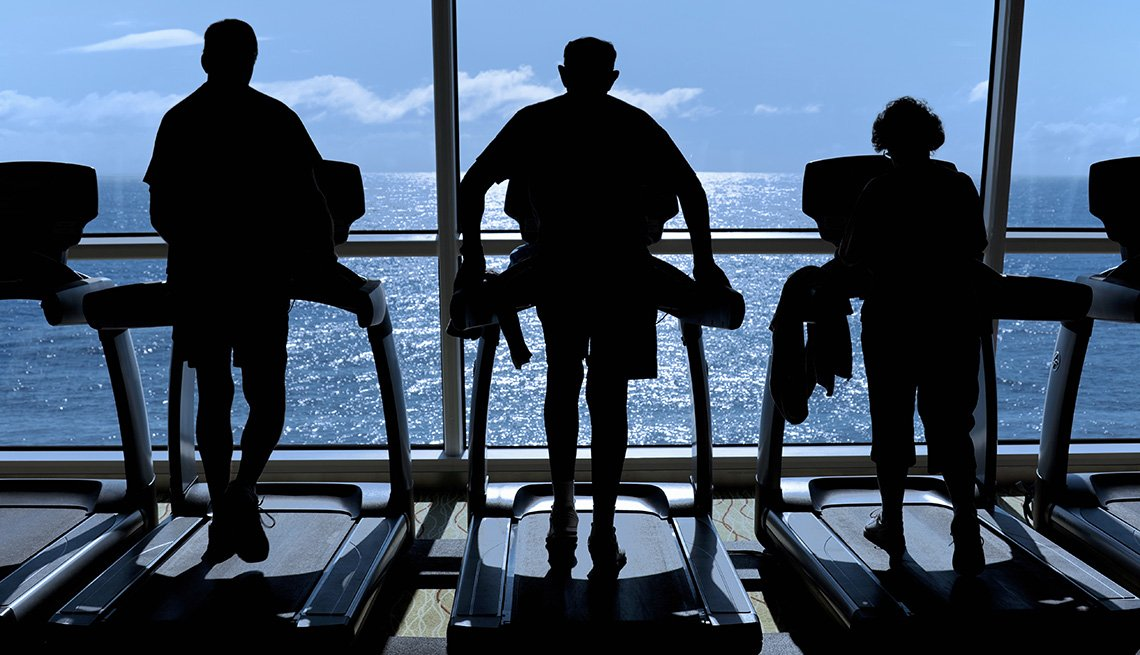 Silhouette Of Three People On Treadmills In The Fitness Center Of A Cruise Ship, Cruise Ship Myths