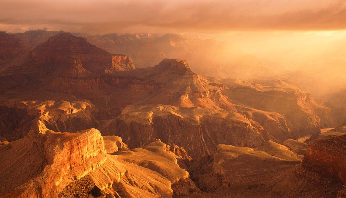 Dramatic Sunset Over Hopi Point In Grand Canyon Arizona, Best Sunsets