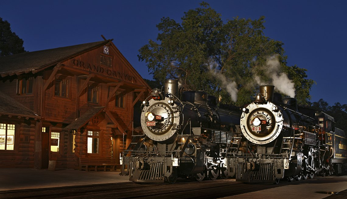 The Grand Canyon Train Arrives At Night At The Station, Fall Foliage Trains
